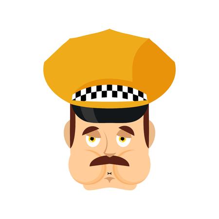 Taxi driver Nausea emoji. Cabbie Sick emotions avatar. Cabdriver ill. Vector illustration