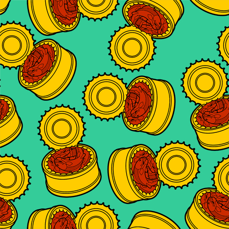 Canned fish pattern seamless. preserve piscine tinned goods background. Vector ornament. Food texture 向量圖像