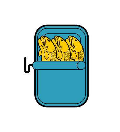 Canned fish isolated. preserve piscine tinned goods. Vector illustration