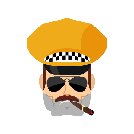 Conductor de taxi Cool avatar serio de emociones. Cabbie fumando cigarro emoji. Cabdriver estricto. Ilustración vectorial