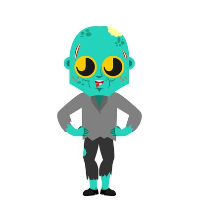 Cute  Zombie isolated. funny Living Dead cartoon style. Undead kids character. Childrens style.