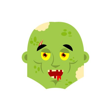 Zombie happy emoji. Living Dead merry emotions avatar. Undead Joyful. Vector illustration Illustration