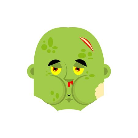 Zombie Nausea emoji. Living Dead Sick emotions avatar. Undead ill. Vector illustration