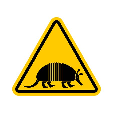 Attention armadillo. Caution Nine-hip Armadillo. Yellow triangle road sign