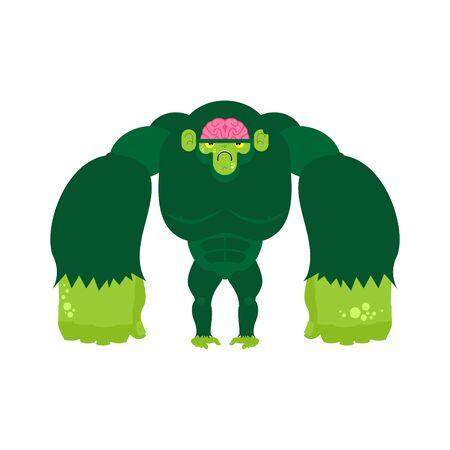 Monkey zombie. Gorilla green Undead. Vector illustration