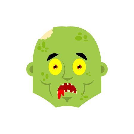 Zombie scared OMG emotion. Living Dead Oh my God emotions avatar. Undead Frightened. Vector illustration Illustration