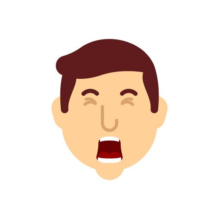 Man yawn face isolated. Guy is yawning.Vector illustration  イラスト・ベクター素材