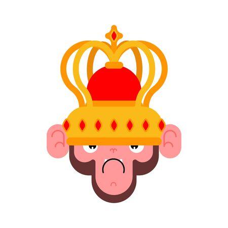 Monkey in crown. Gorilla King. Vector illustration