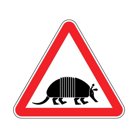 Attention armadillo. Caution Nine-hip Armadillo. Red triangle road sign