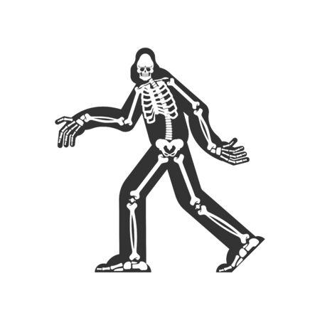 Squelette de Bigfoot isolé. crâne et os de sasquatch. L'abominable homme des neiges. sasquatch reste