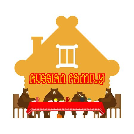 Russian bear family in home. Bear traditional home animal. Wooden hut. Russia culture
