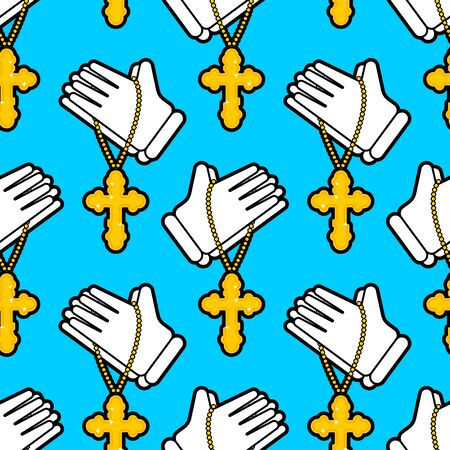 Hands in prayer pattern seamless. Religion background. vector texture Standard-Bild - 127199159