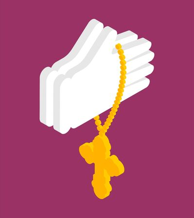 Hands in prayer and cross isolated. Prayer Religion vector texture Standard-Bild - 127198756