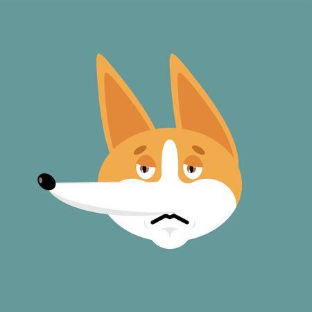 Corgi sad emoji. Dog sorrowful emotions avatar. Pet dull. Vector illustration