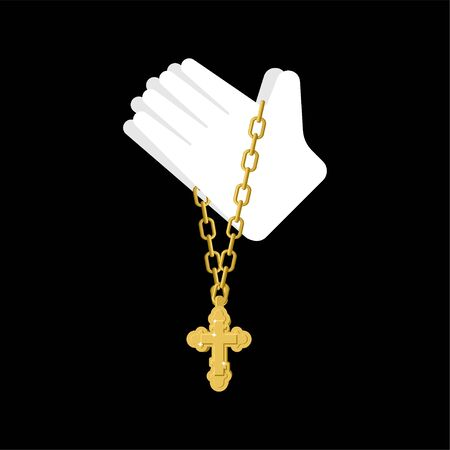 Hands in prayer and cross isolated. Prayer Religion vector texture Standard-Bild - 127198636