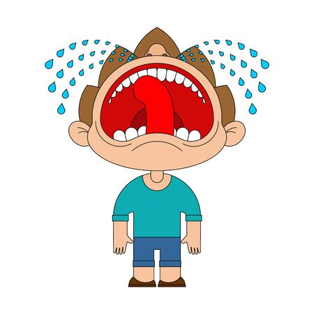 Boy crying open mouth. Child tantrum vector illustration
