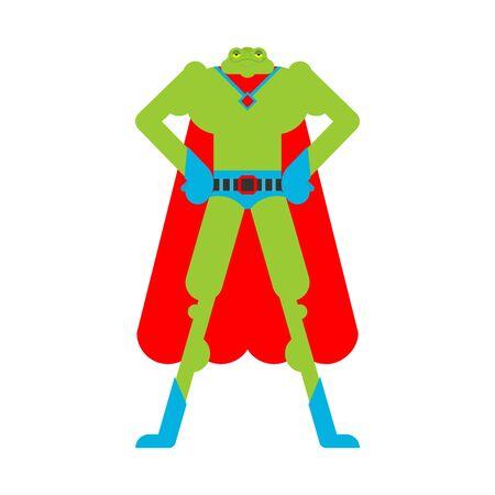 Superhéroe rana. Super Sapo con máscara e impermeable. Anfibio fuerte
