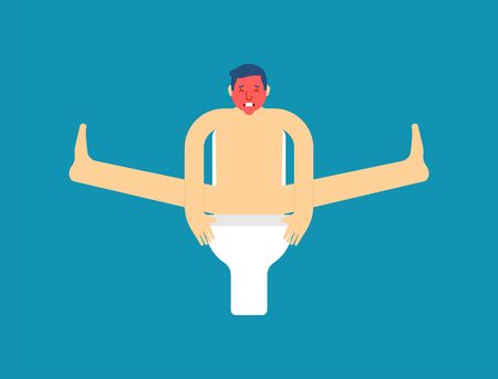 Man on toilet isolated. Guy poop vector illustration
