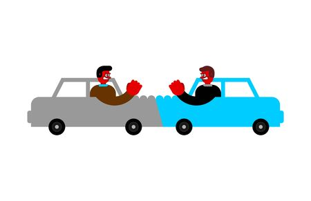 Car accident Angry driver.  Hater. Vector illustration