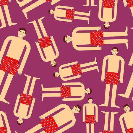 Guy in underpants pattern seamless. Man in underwear background. Vector texture