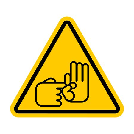 Attention Sex gesture. Caution Slang finger. Yellow triangle road sign  イラスト・ベクター素材