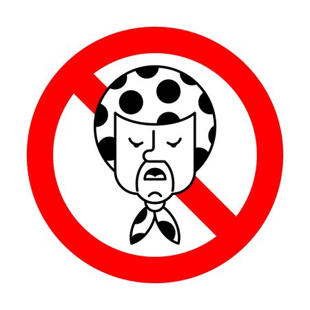 Stop angry Grandma. Ban Evil grandmother. Red prohibition road sign Aggressive Old woman