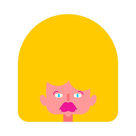 Beautiful blonde face cartoon style. Silicone lips