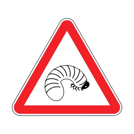 Attention Beetle larva. Caution Maggot. Red triangle road sign Vetores