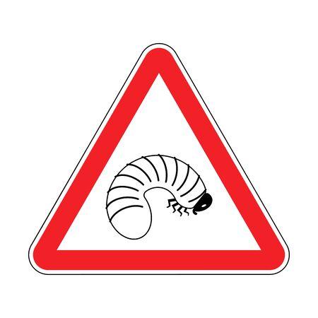 Attention larve de coléoptère. Attention asticot. Panneau de signalisation triangle rouge Vecteurs