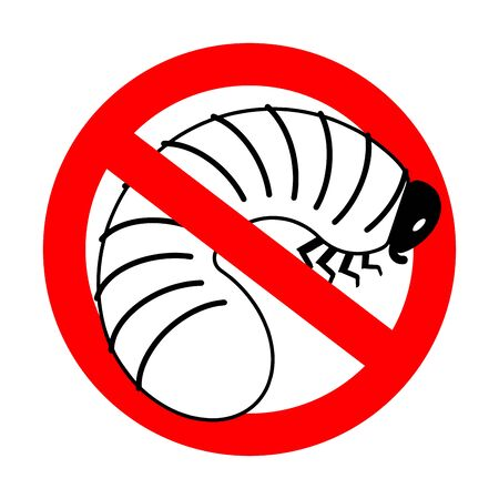Stop Beetle larva. Ban Maggot. Red prohibition road sign  Illustration