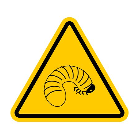 Attention Beetle larva. Caution Maggot. Red triangle road sign Illustration