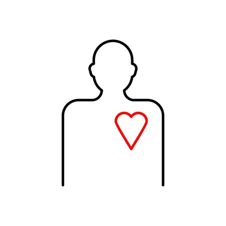 Silhouette of man and heart. Linear style Illustration