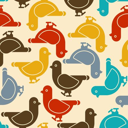 Dove pattern seamless. Pigeon background. vector illustration