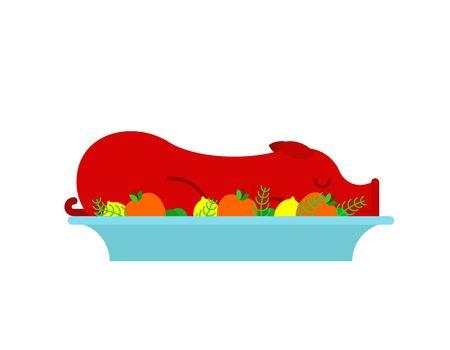Roasted pig in plate. grilled pig. vector illustration
