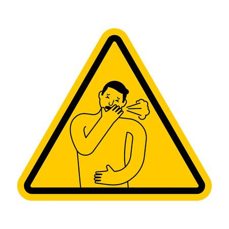 Attention Cough. Caution coughing. Yellow triangle road sign Иллюстрация