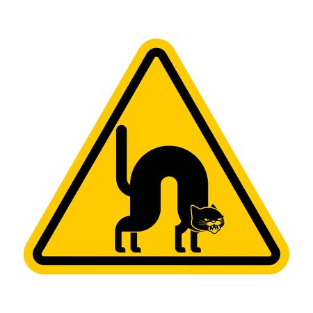 Attention Angry cat. Caution Attacker pet bully. Yellow triangle road sign Иллюстрация