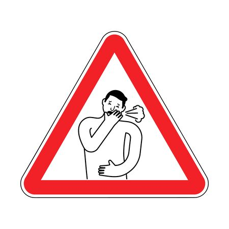 Attention Cough. Caution coughing. Red triangle road sign 스톡 콘텐츠 - 129110710