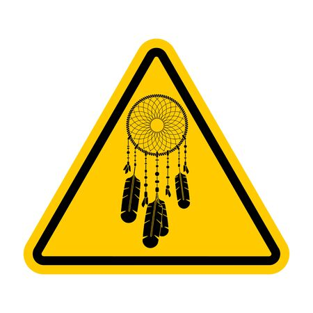 Attention Dreamcatcher. Caution Dream catcher. Yellow triangle road sign Иллюстрация