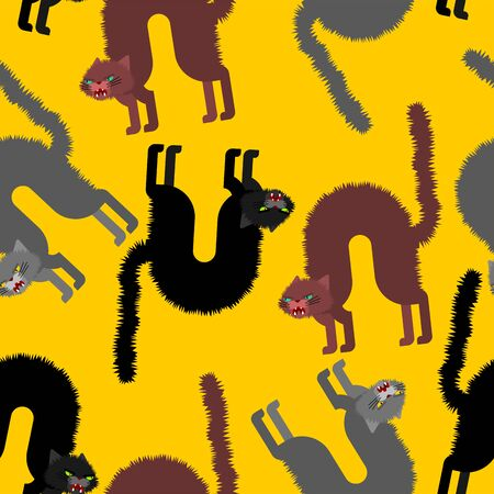 Angry cat pattern seamless. Attacker pet background. Animal vector texture Illustration
