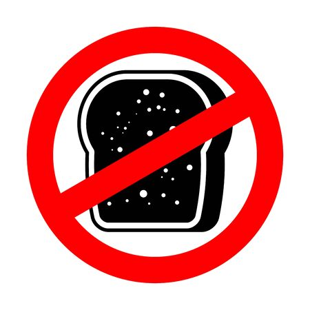 Stop Burnt bread. Red prohibition road sign. Ban toasted toast.