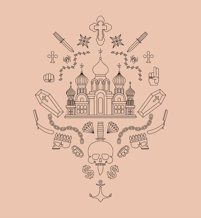 Russian prison tattoo. Church and skull. Cross and chain. Barbed wire and crown. Thief stars. Russia sign Prisoner mafia tattooing. criminal symbol