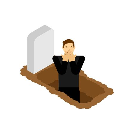 Man is standing in grave. Guy in grave pit. vector illustration