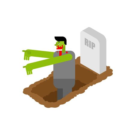 Zombie got up from grave. vector illustration