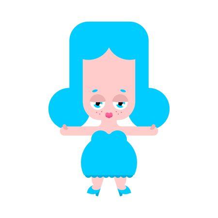 Cute doll cartoon isolated. girlie Vector illustration