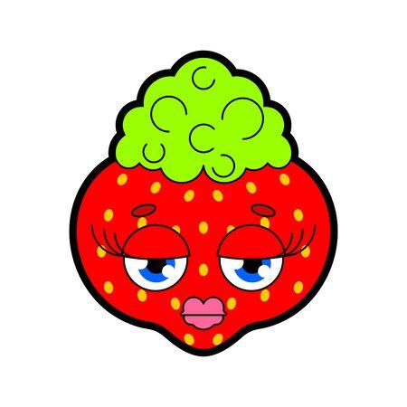 Strawberrie with lips isolated. Glamorous berry vector illustration Standard-Bild - 130589970