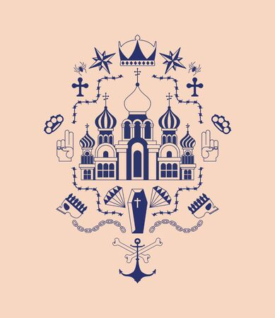 Russian prison tattoo. Church and skull. Cross and chain. Barbed wire and crown. Thief stars. Russia sign Prisoner mafia tattooing. criminal symbol Banque d'images - 130589971