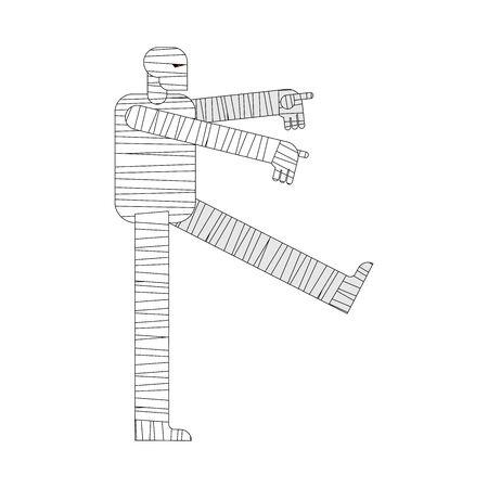Mummy isolated. Halloween cartoon bandage zombie. vector illustration