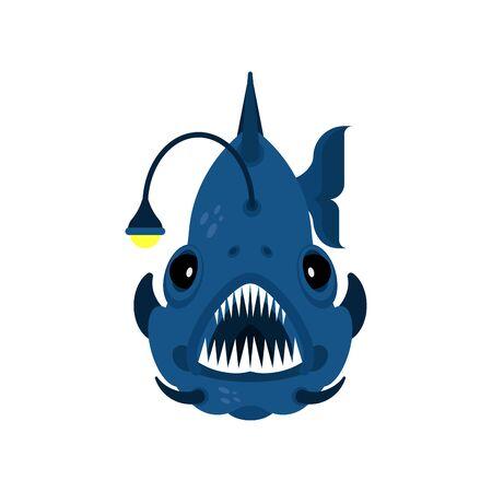 Deep sea fish. Angler isolated. vector illustration Standard-Bild - 130589979
