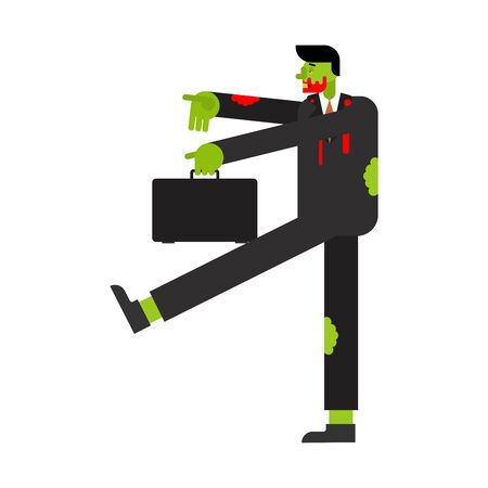Zombie manager goes to work cartoon isolated. vector illustration