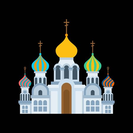 Russian christian church isolated. Traditional orthodox temple. Golden domes. vector illustration
